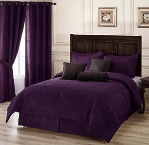 Amazon.com - Chezmoi Collection 7 Pieces Solid Lavender Purple ...