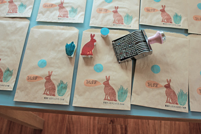 Stamping some bags for my Etsy shop.