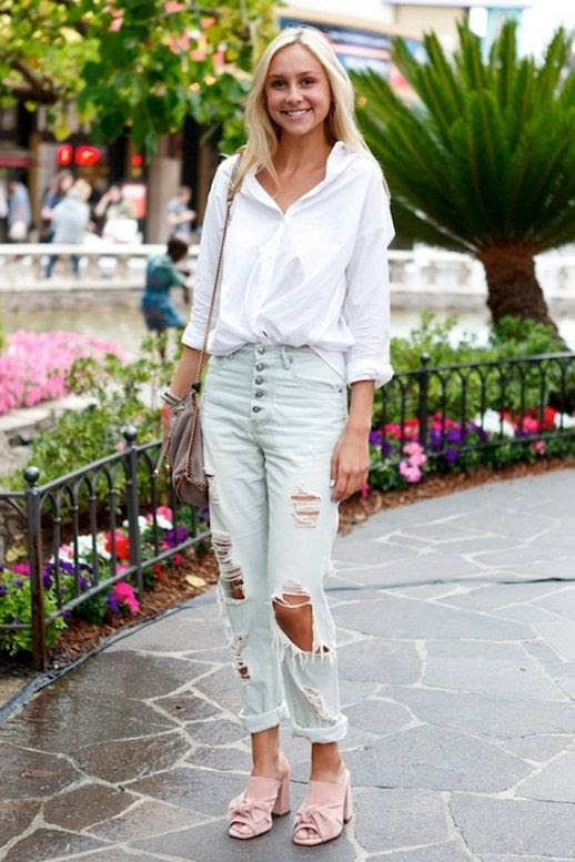 Le Fashion Blog Street Style White Shirt Crossbody Bag Cuffed Ripped Jeans Pink Suede Sandals Via Who What Wear