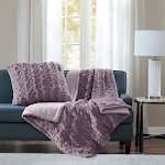Madison Park Ruched Faux Fur Solid Brushed Long Knitted Throw Blanket, Lavender