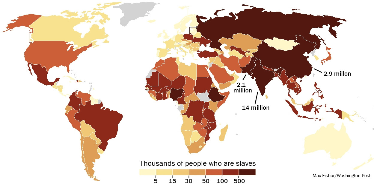 The number of slaves in each country. Click to enlarge. Data source: Walk Free Global Slavery Index. (Max Fisher/Washington Post)