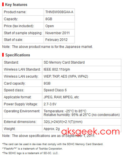 Toshiba FlashAir SDHC specs