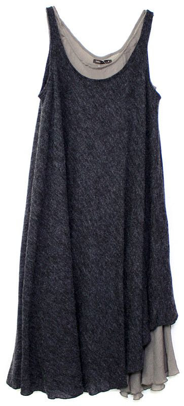 layered charcoal grey tunics: