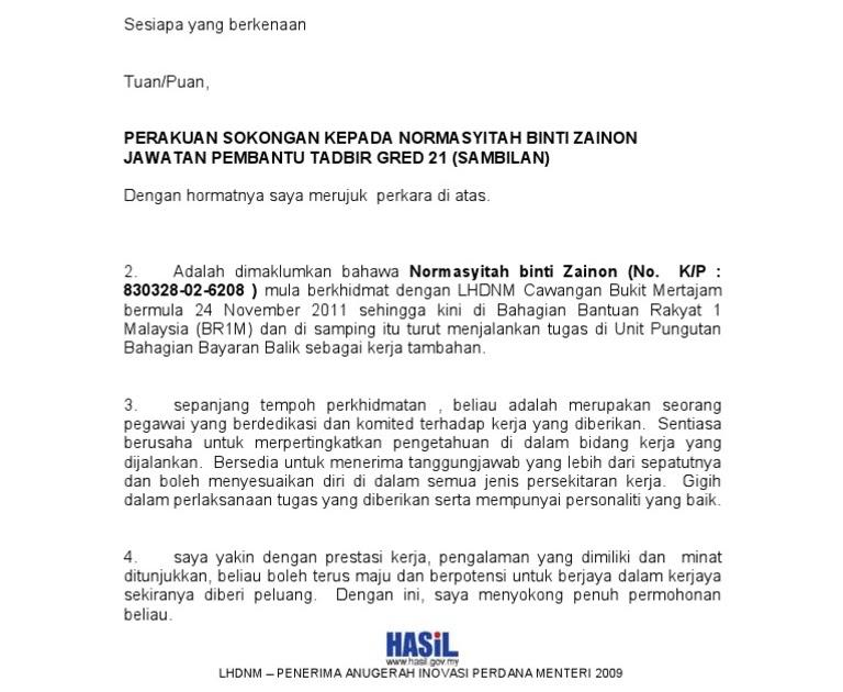 Contoh Surat Rasmi Sokongan Ketua Kampung Vrasmi