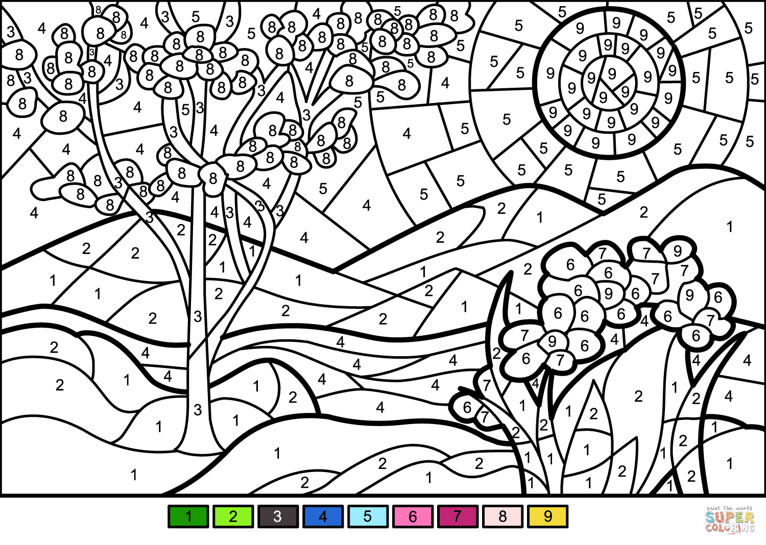 Spring Color by Number | Free Printable Coloring Pages
