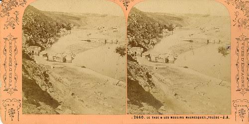 Fotografía estereoscópica de Toledo. Molinos en el Tajo