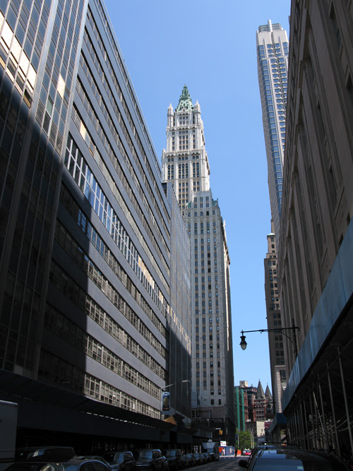 a look at the Woolworth Building through a downtown canyon, Manhattan, NYC