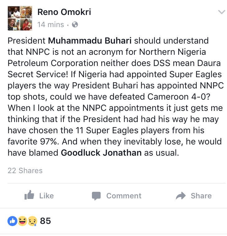 The Real Meaning of NNPC and DSS- Reno Omokri