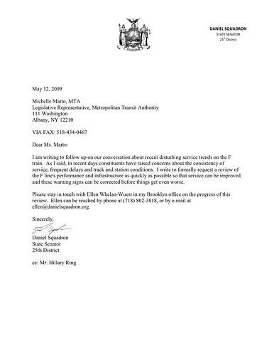 MTA letter re F train service 5-12-09