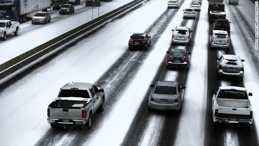 Ice and snow bring chaotic commutes to much of South