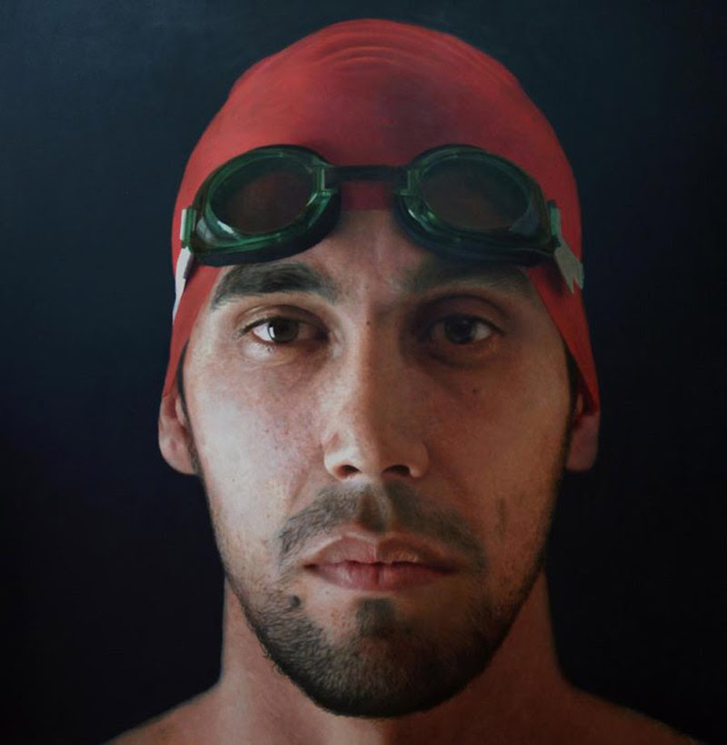 Swimmer, number11, 2009, oil on panel, 160x160 cm