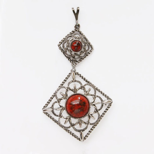 Sarah Coventry Inca Fire Pendant Brooch Only