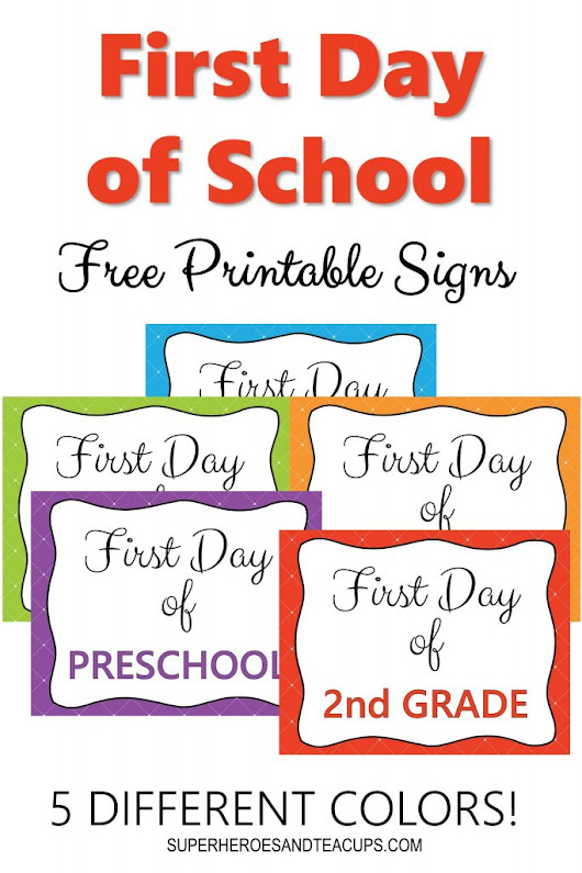 First Day of School Signs Free Printable for Every Grade