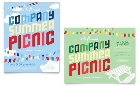 Company Summer Picnic Poster Template Design