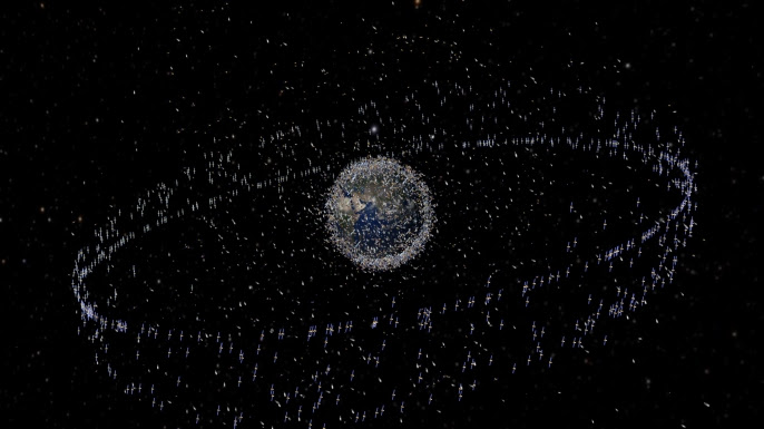 An artist impression of orbital debris based on actual density data. However, the debris objects are shown at an exaggerated size to make them visible at the scale shown. (Credit: NASA)