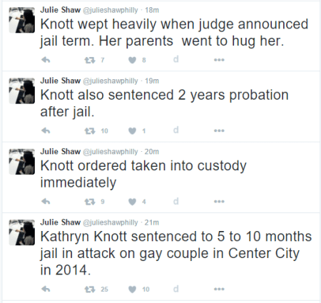 Philly Gay Basher Kathryn Knott Sentenced to Jail