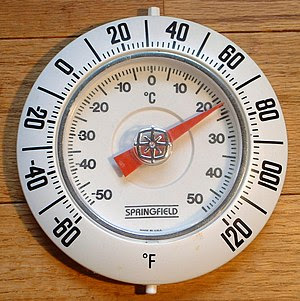 Thermometer with Fahrenheit units on the outer...