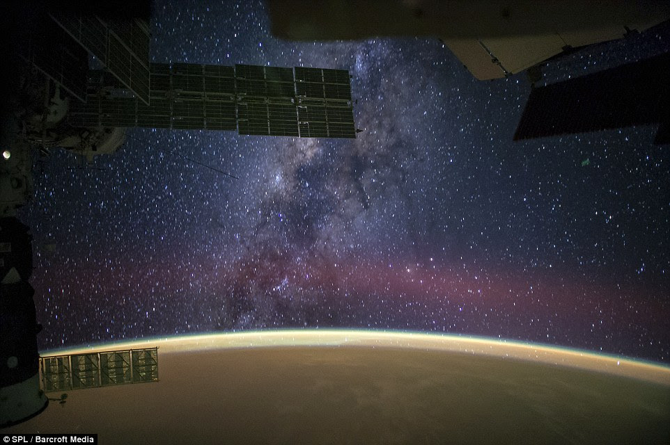 100 billion stars: The Milky Way was captured by astronauts on board the International Space Station (ISS) in September.The Milky Way's barred spiral galaxy is around 100,000 to 120,000 light-years in diameter