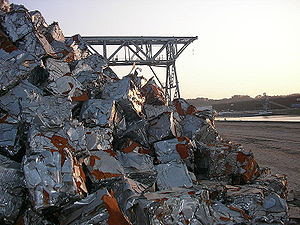 Compacted scraps pile in one of the yards of C...