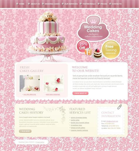 Wedding Cake Website Template   Web Design Templates
