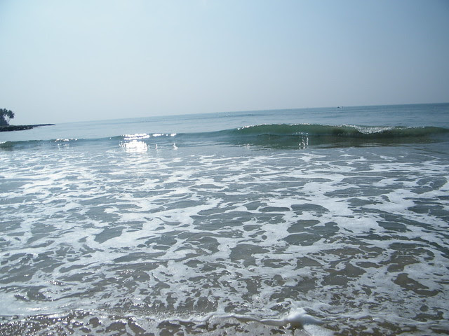 roaring sea at Thirumullavaram beach, Kerala