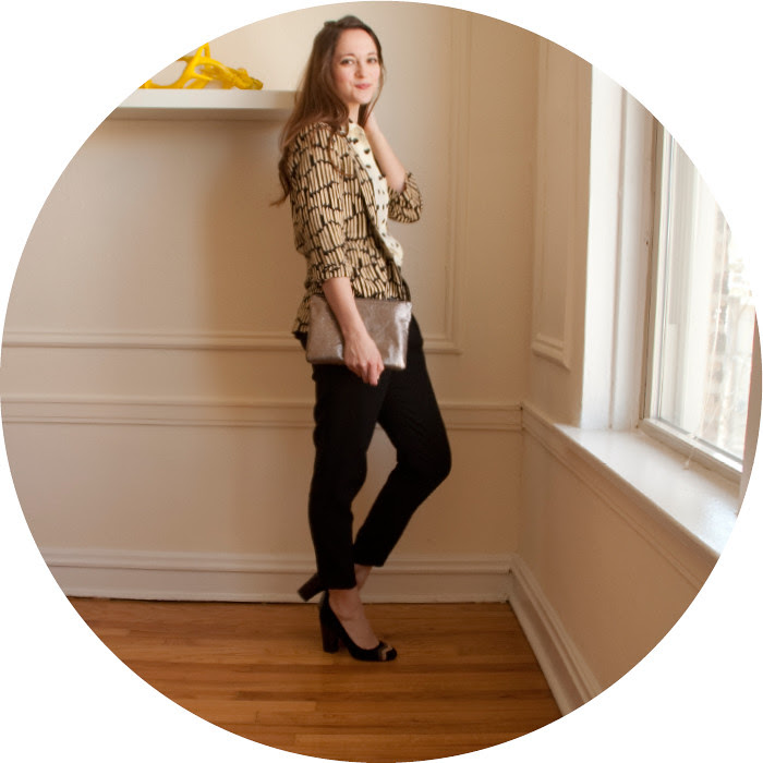 hearts+such, heart print shirt, neutrals, wear to work, chevron heels, pattern mixing, open front jacket, black pants, hearts and tribal print