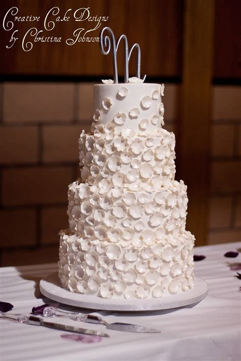 LAUREN   Rose Petal Buttercream Wedding Cake   Four tier