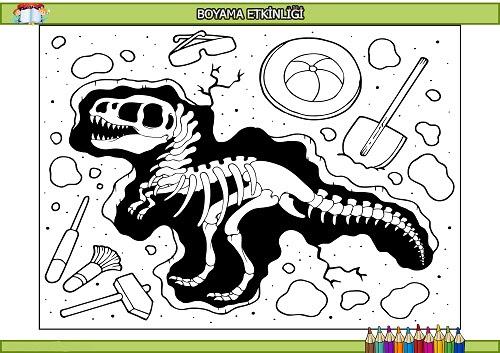 Fosil Dinozor Boyama Etkinliği Meb Ders