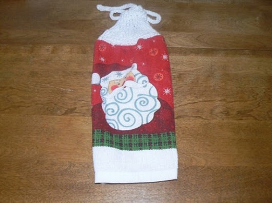 Round Red Santa Hanging Dish Towel With Hand Knit Topper and