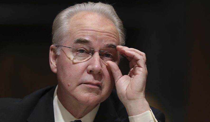 Health and Human Services Secretary-designate, Rep. Tom Price, R-Ga., pauses while testifying on Capitol Hill in Washington at his confirmation hearing before the Senate Finance Committee, in this Jan. 24, 2017, file photo. (AP Photo/Andrew Harnik, File)