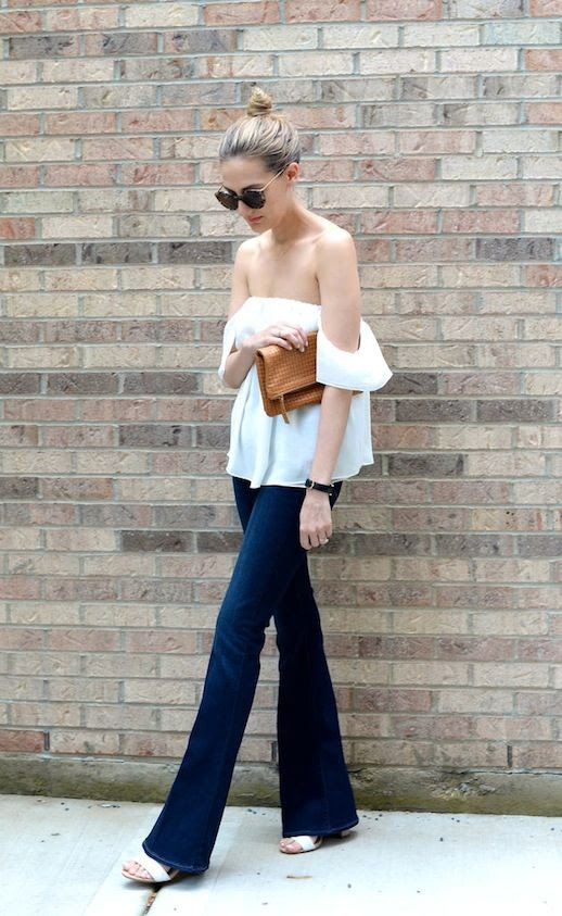 23 Le Fashion 31 Stylish Ways To Wear An Off The Shoulder Look White Top Flared Jeans Via See Anna Jane