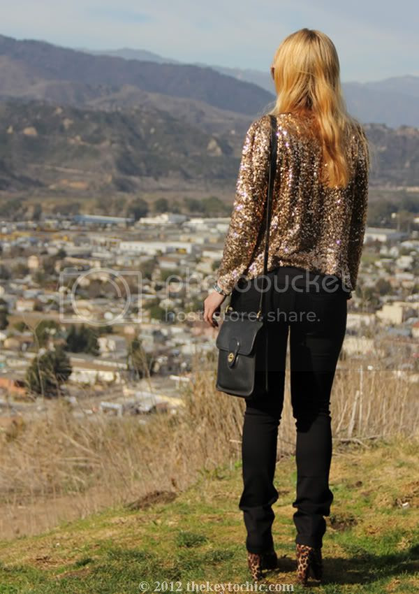 gold sequin jacket, James Jeans Couture Collection, vintage Coach bag, Forever 21 leopard boots, Los Angeles fashion blogger