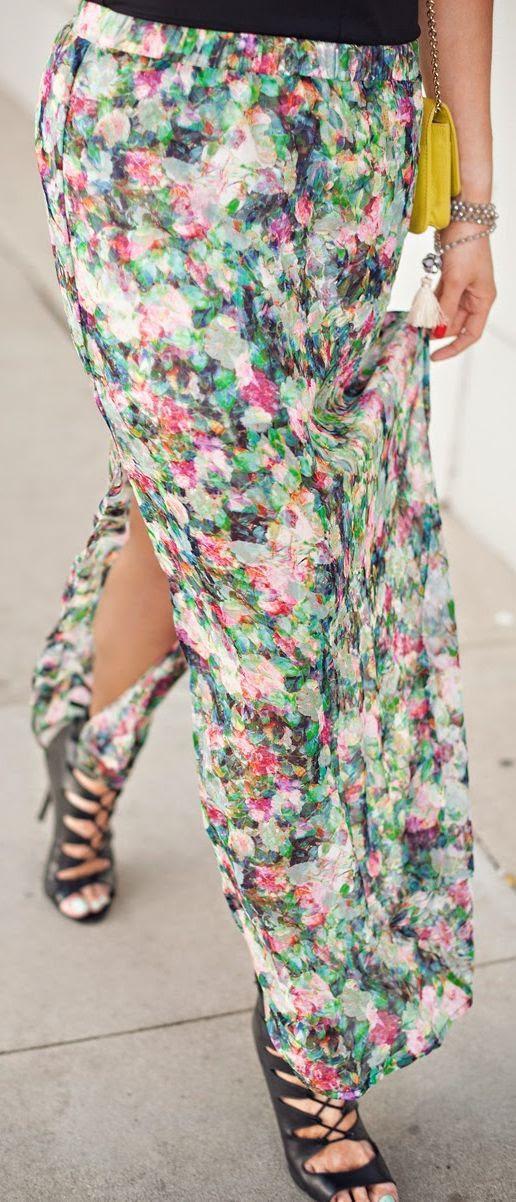 Sam & Lavi Spring Garden Floral Maxi Skirt by Devon Rachel