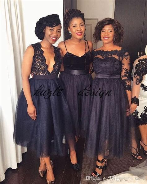 2018 Short Tea length Navy Blue Lace Tulle Bridesmaid