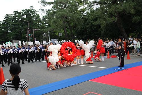 Cheerleaders spreading Kyoto love