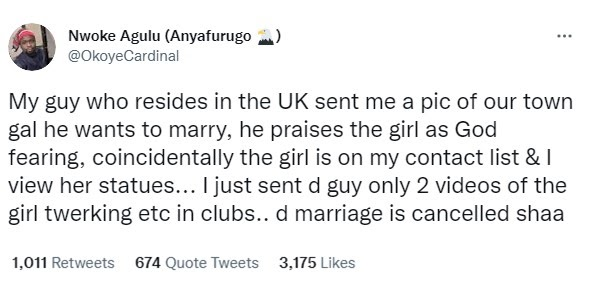 UK-based Nigerian man cancels marriage plans with 'God fearing' lady from his hometown after his friend sent him videos of her twerking in nightclubs