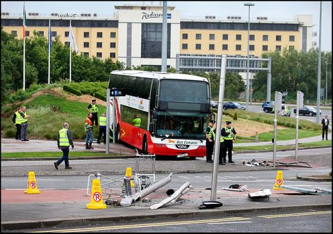 The Bus Eireann double decker coach which crashed at Dublin Airport causing damage. Photo: Steve Humphreys