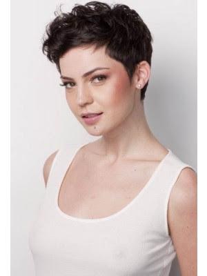 Schlicht Kurze Haarstils Süße Locken Pixie Perücke Für Frauen