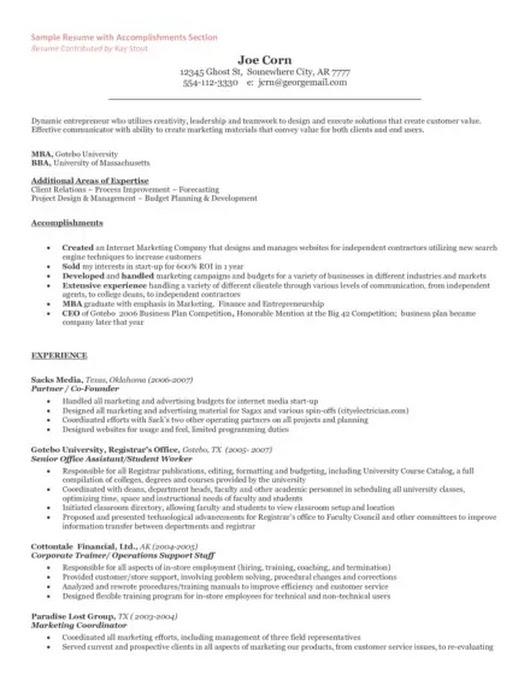 resume for running own business