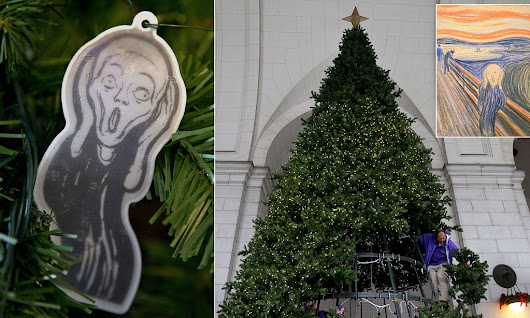 The ghost of Christmas present! Norway sends Edvard Munch's The Scream baubles to decorate Washington's Union Station Xmas tree