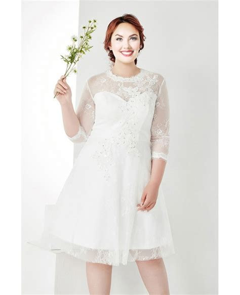 Modest Plus Size White Lace 3/4 Sleeves Short Wedding