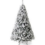 Best Choice Products 9ft Premium Snow Flocked Hinged Artificial Pine Christmas Tree Holiday Decor w/ Metal Stand - Green