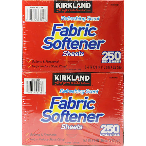 Kirkland Fabric Softener Sheets, Refreshing Scent - 2 pack, 250 sheets
