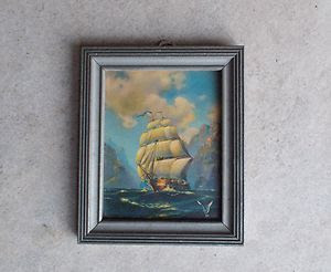 Ship Picture Wood Frame Glass 201 Art Pub Co 2509 Cermak Rd On Popscreen