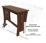 Mission Style Sofa Table Woodworking Plan - fee plans from WoodworkersWorkshop® Online Store - sofa tables,narrow tables,Missions style,solid wood furniture,mortise and tenon,patterns,drawings,plywood,plywoodworking plans,woodworkers projects,workshop blueprints
