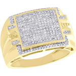 10K Yellow Gold Diamond Milgrain Step Square Cluster Mens Pinky Ring 0.55 CT.
