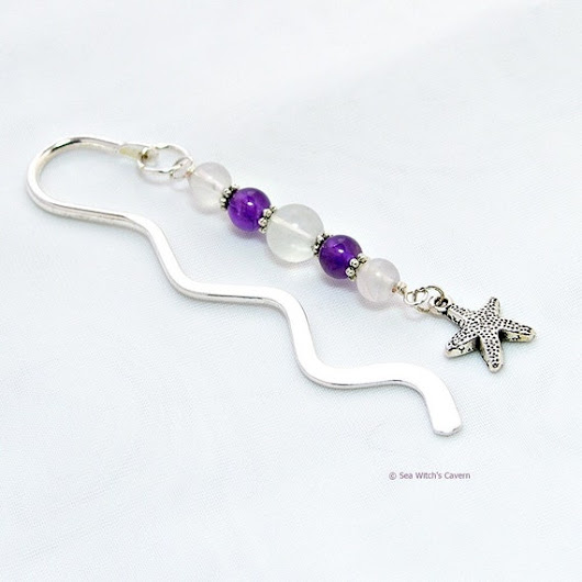 Book Mark Amethyst Birthstone Gift  Starfish by SeaWitchsCavern