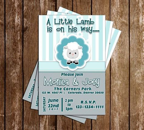 Novel Concept Designs   Little Lamb   Baby Shower   Invitation