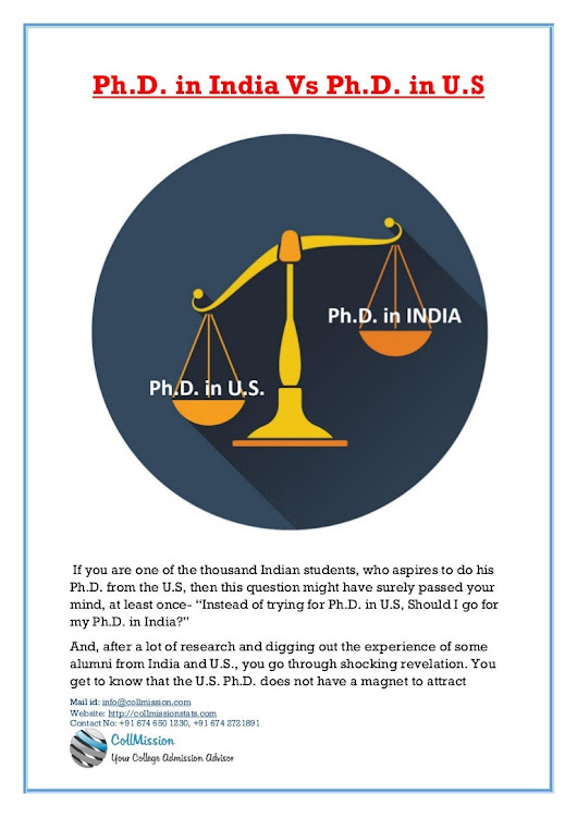 Ph.D in India Vs Ph.D in US – An Over Look