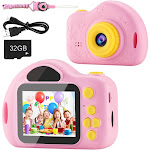 AIMASON Kids Camera, Digital Video Camera for Kids, Toddlers, Toy, Boys and Girls, Age 3 4 5 6 7 8 9 10 with 32GB SD Card Pink - Pink